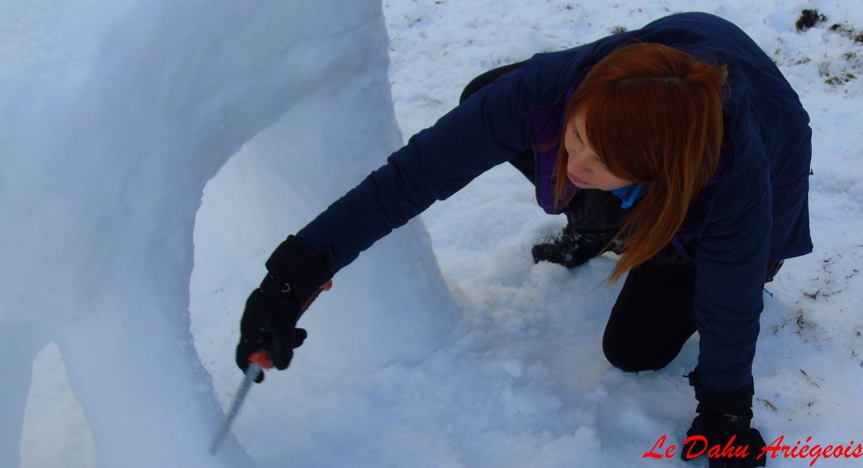 sculpture sur glace Ariége Pyrénées Delphine Duguet