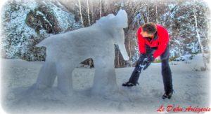 sculpture sur glace Denis Wohmann Dahu Ariégeois